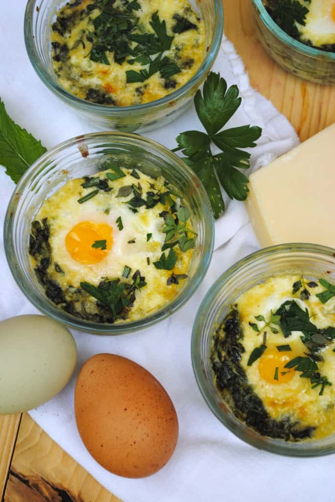 Baked eggs florentine. An elegant and tasty breakfast.