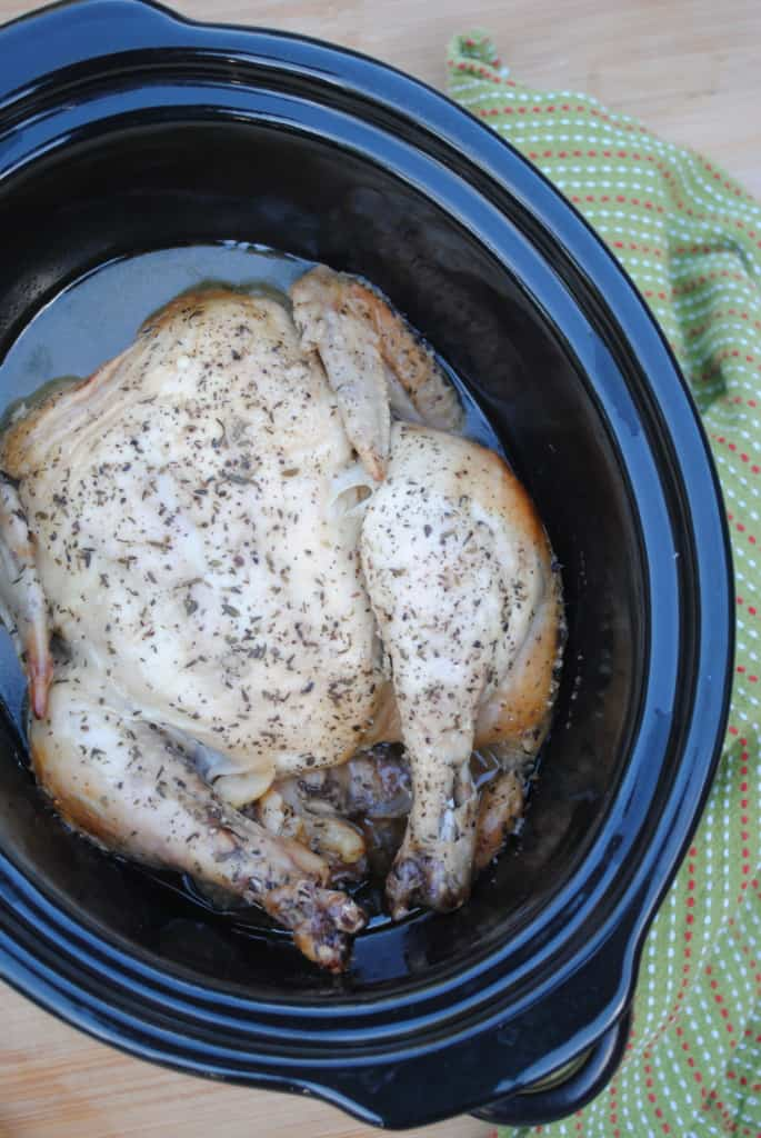 Slow cooker whole chicken with gravy