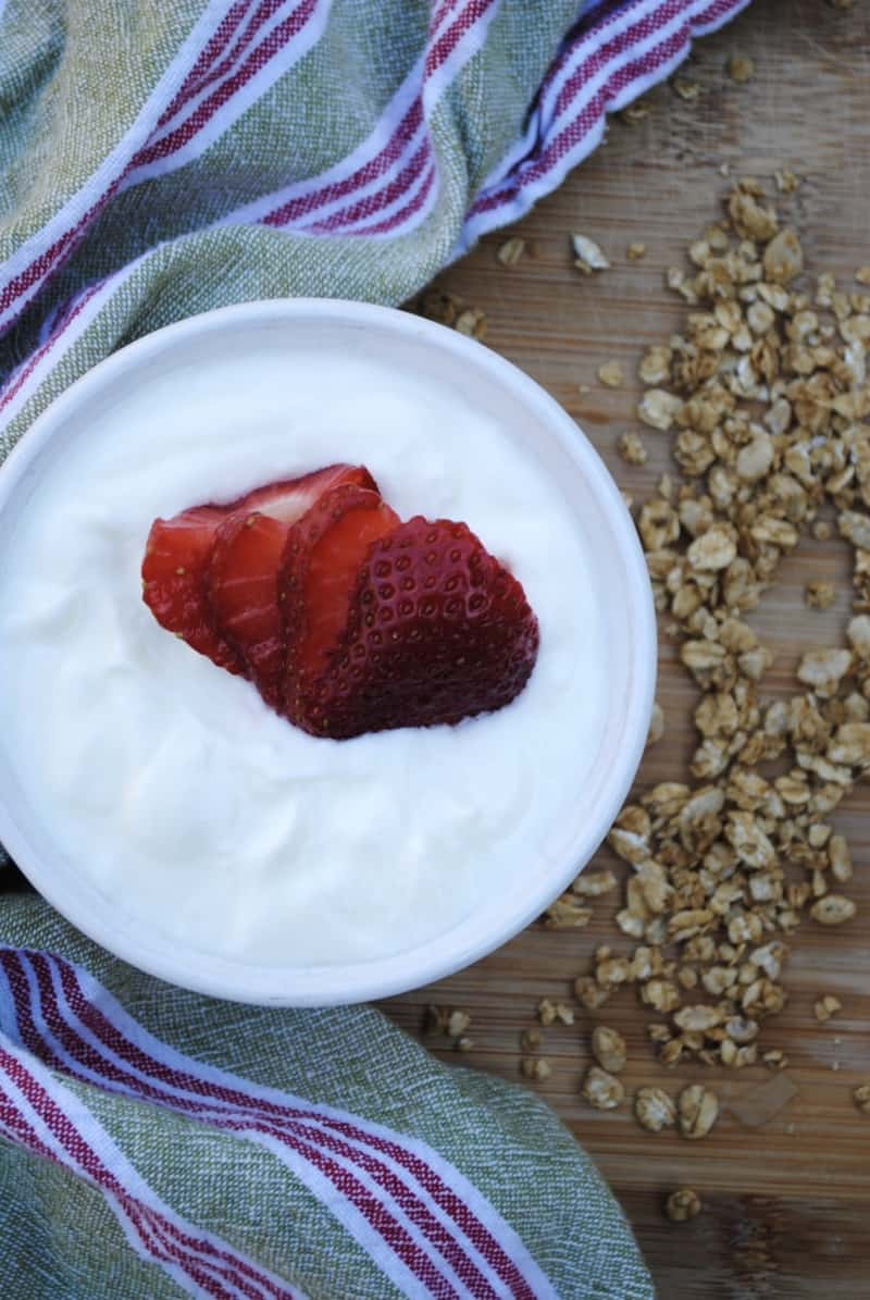 Homemade yogurt, made in the slow cooker.