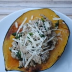 Sausage and spinach stuffed acorn squash. A great meal in the fall.