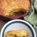 Chili and cornbread bake. Thick chili topped with cornbread and cheese. Simple comfort food.