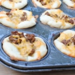 Taco cups with pizza dough. A twist on a kid friendly classic.