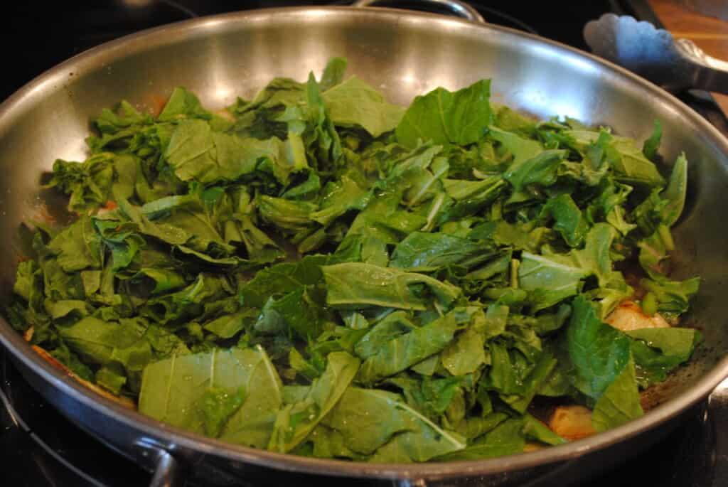 turnip greens in a skillet