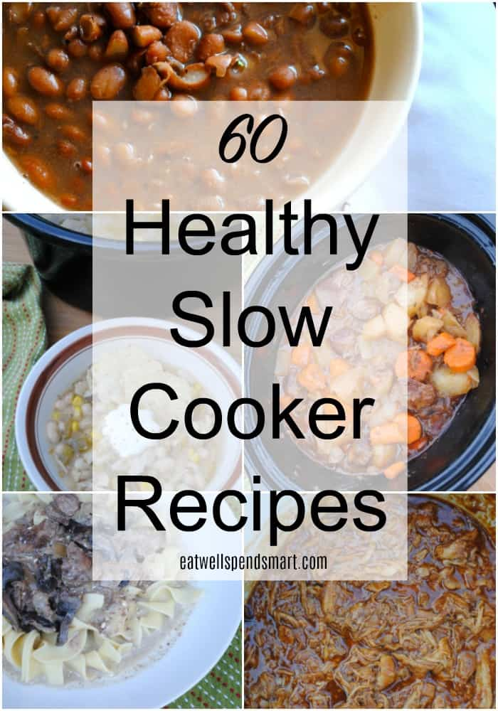 collage of healthy slow cooker recipes