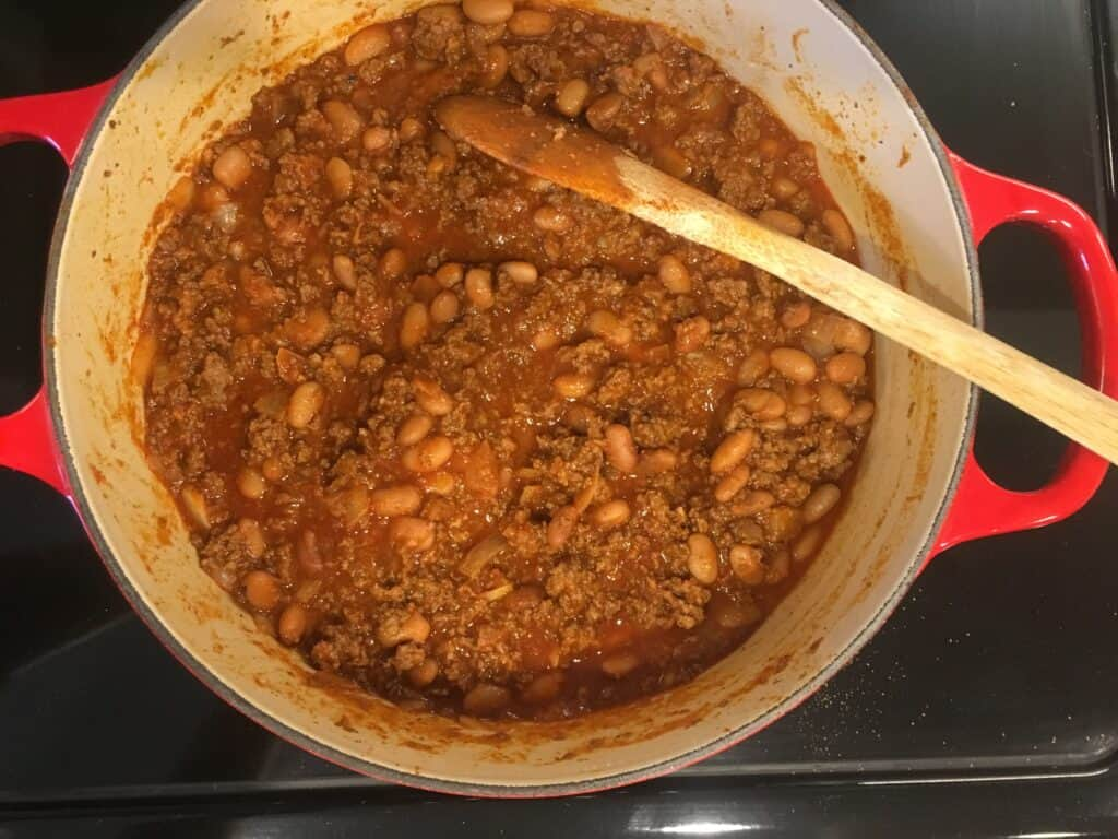 chili simmering on the stove