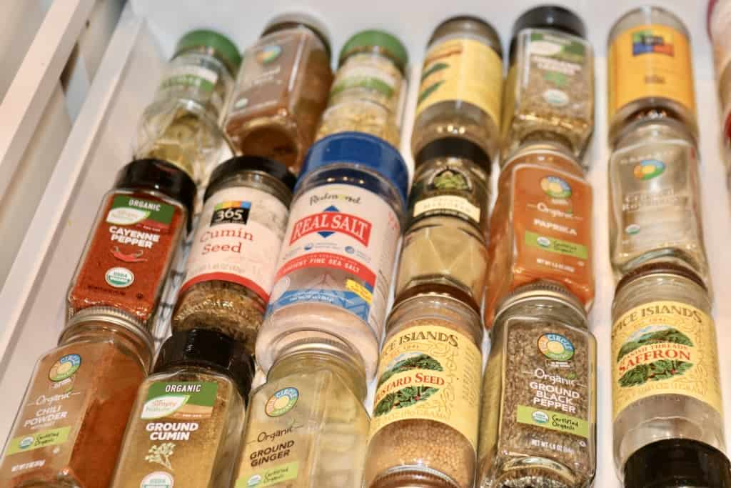 Spice drawer full of spices and herbs