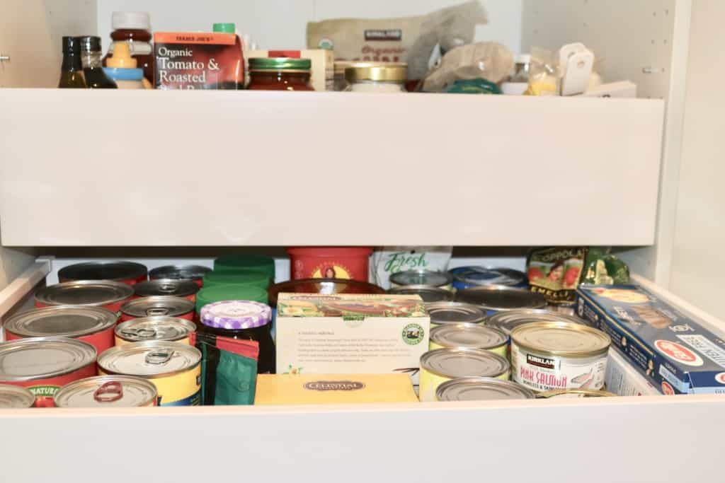 Pantry goods in a white pantry