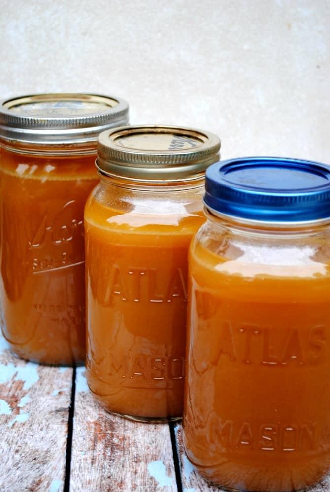 homemade beef stock in jars