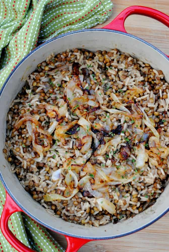 Mujaddara lentils and rice. Dirt cheap healthy food at its finest.