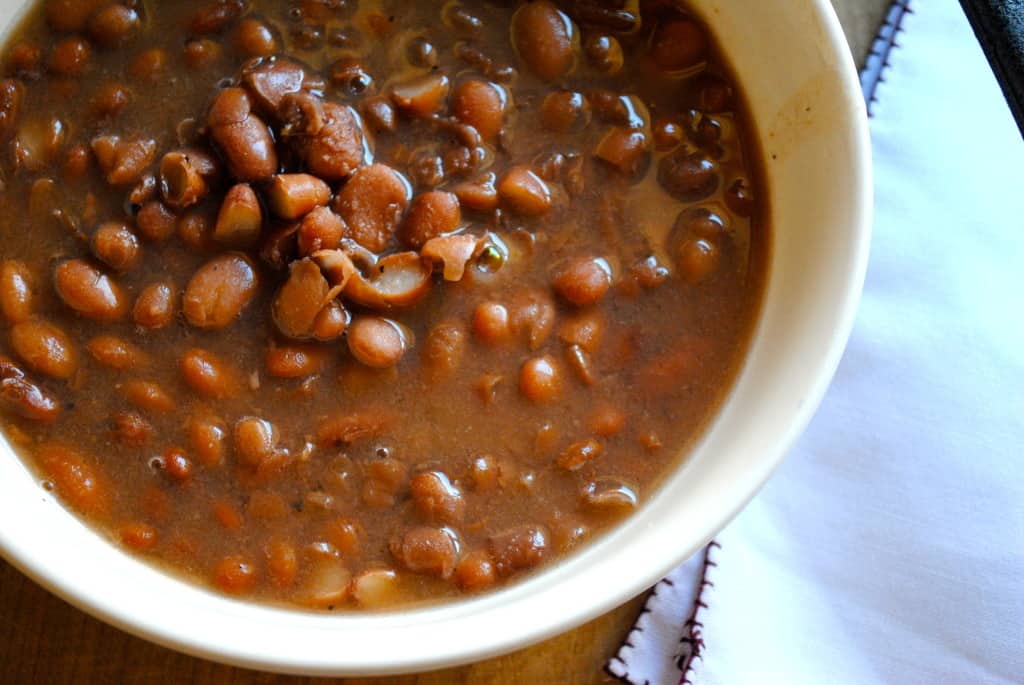 close up of a bowl of slow cooker pinto beans