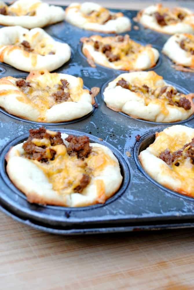 taco cups in a muffin tin