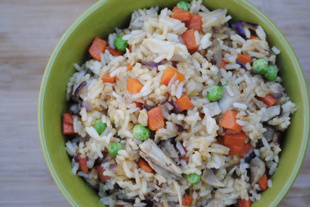 Chicken fried rice. A great inexpensive meal to help create balance and financial breathing room in your meal plan.