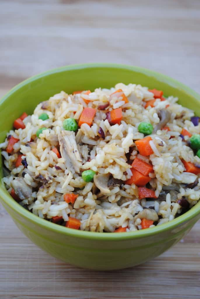 Chicken fried rice. A dirt cheap meal.