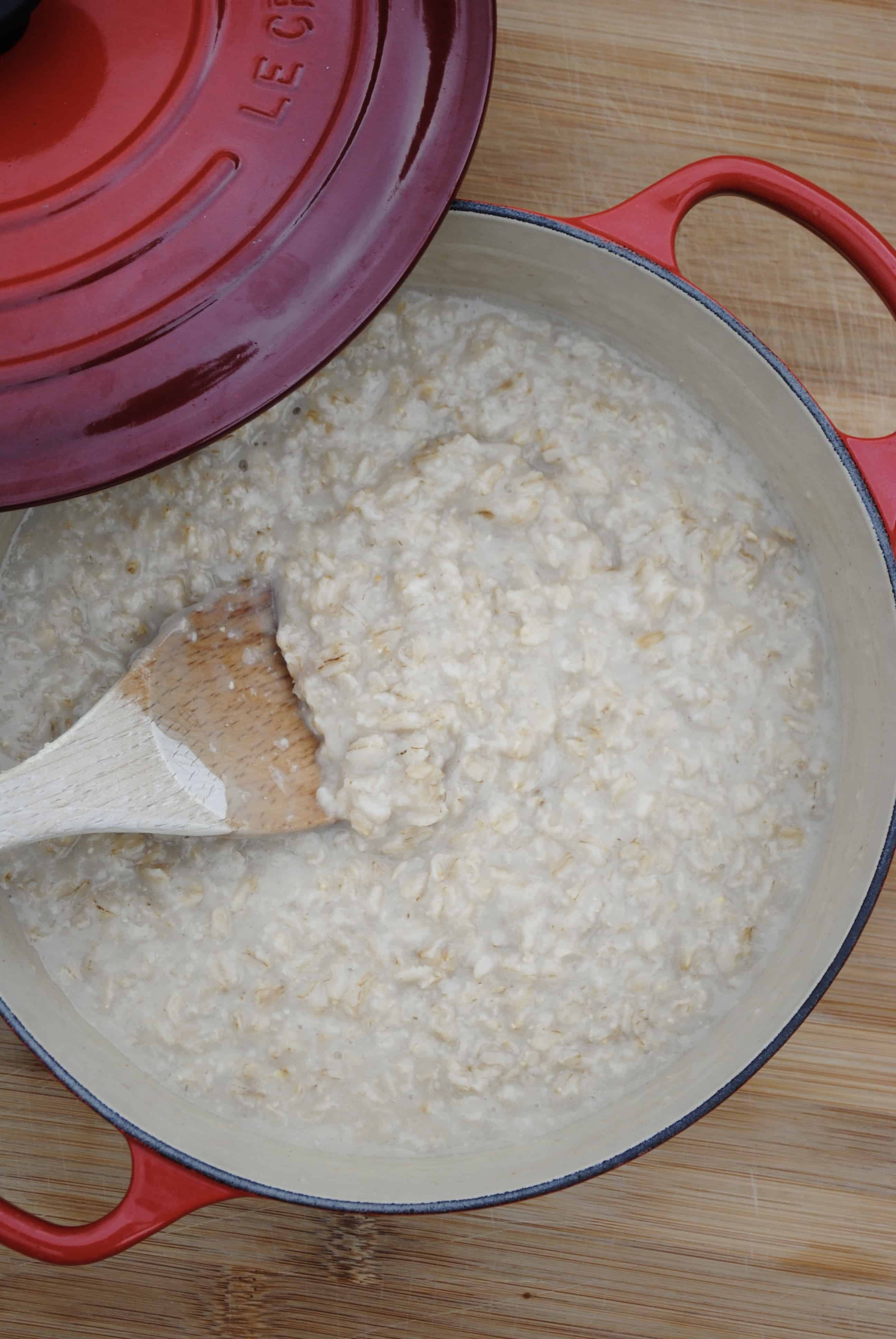Oatmeal in a red pot