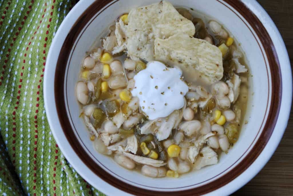 White chili made in the slow cooker with dried beans