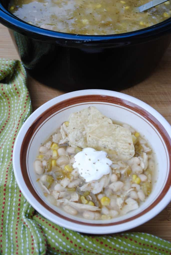 White chicken chili made in the slow cooker