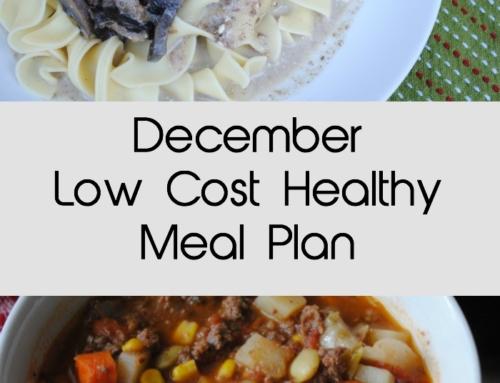 December Low Cost Healthy Meal Plan