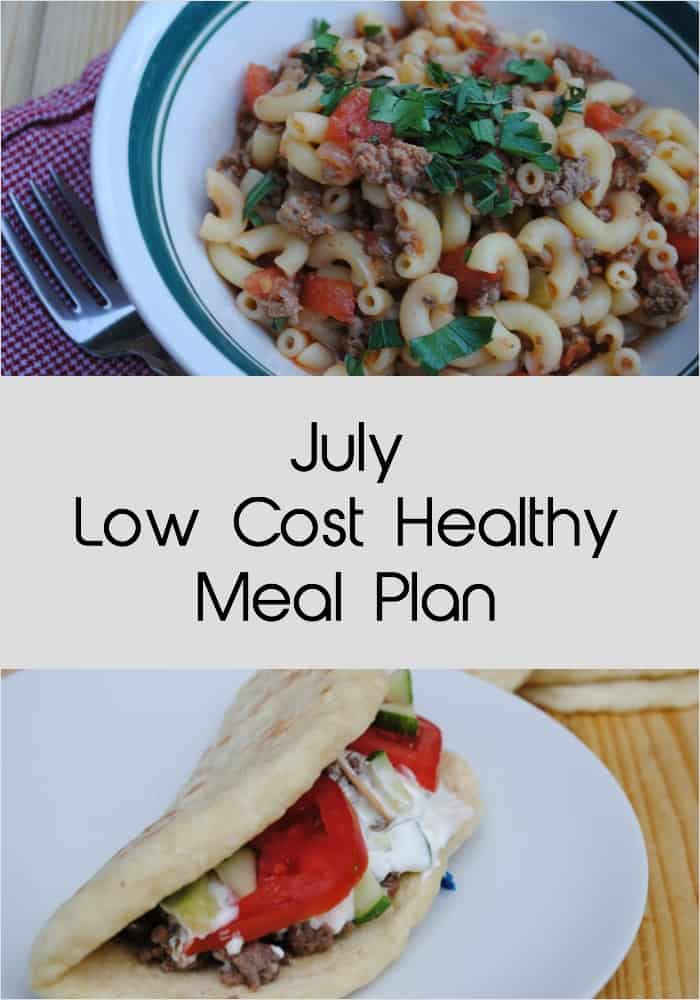 July low cost healthy meal plan