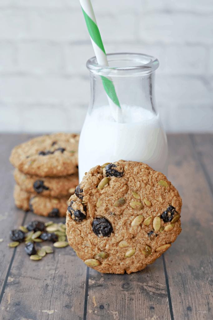 breakfast cookie in front of glass of milk
