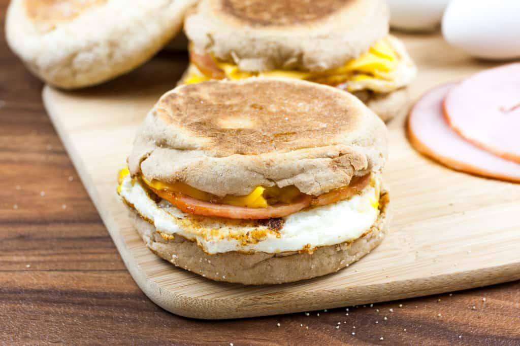 ham egg and cheese English muffin sandwich