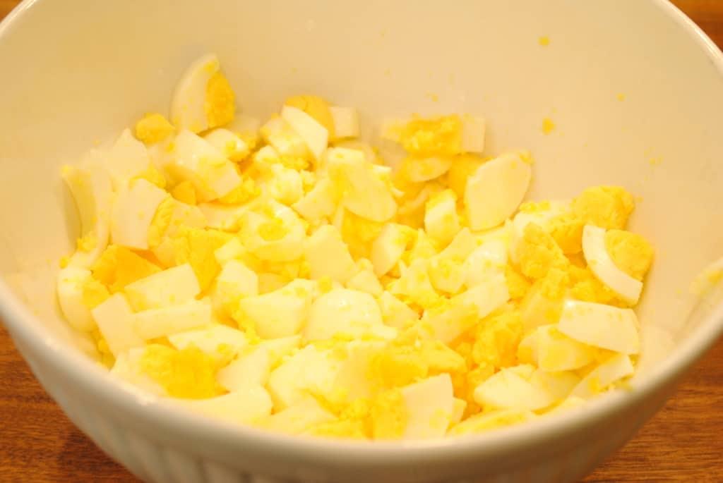 chopped eggs in a bowl