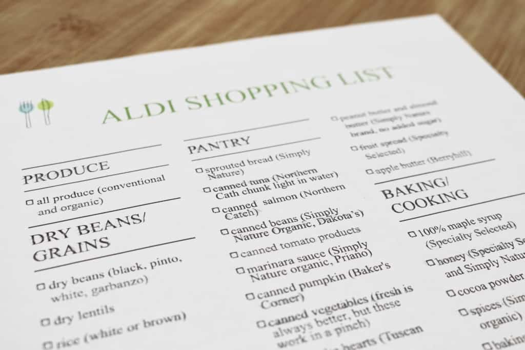Aldi shopping list