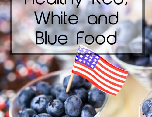Healthy red white and blue food