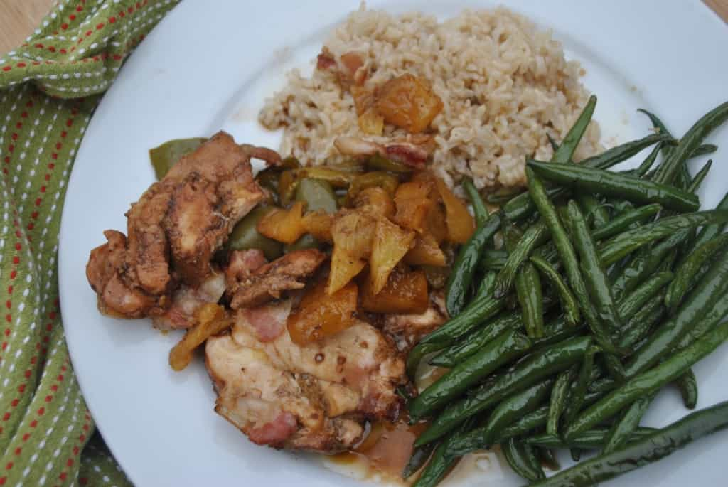 Chicken with pineapple and bacon.  A tasty one dish dinner.