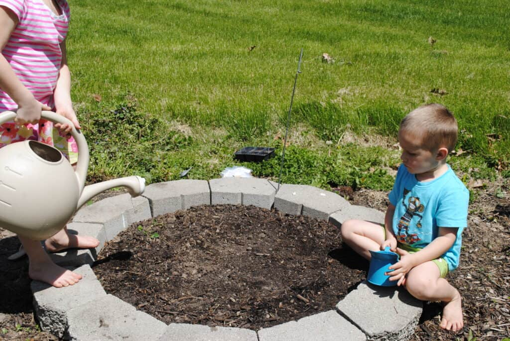 Children watering a plant