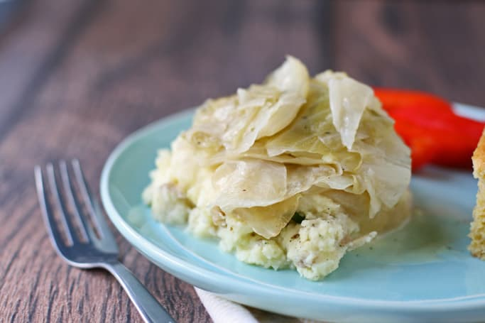 boiled cabbage on top of mashed potatoes on a light blue plate