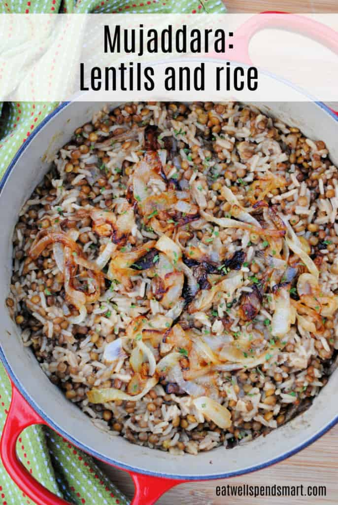 Lentils and rice topped with caramelized onions.