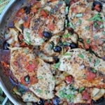 Chicken with olives, artichokes, and tomatoes