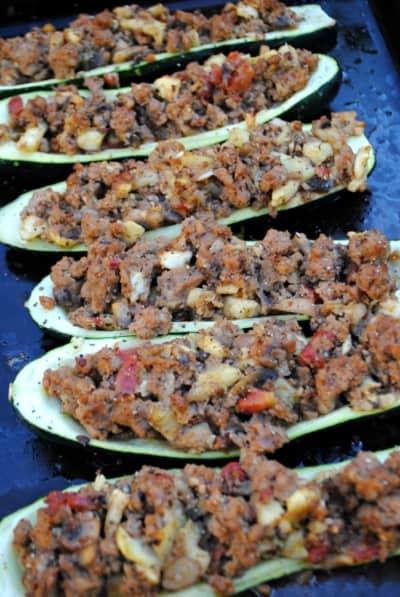 Zucchini boats. A healthy seasonal summer meal.