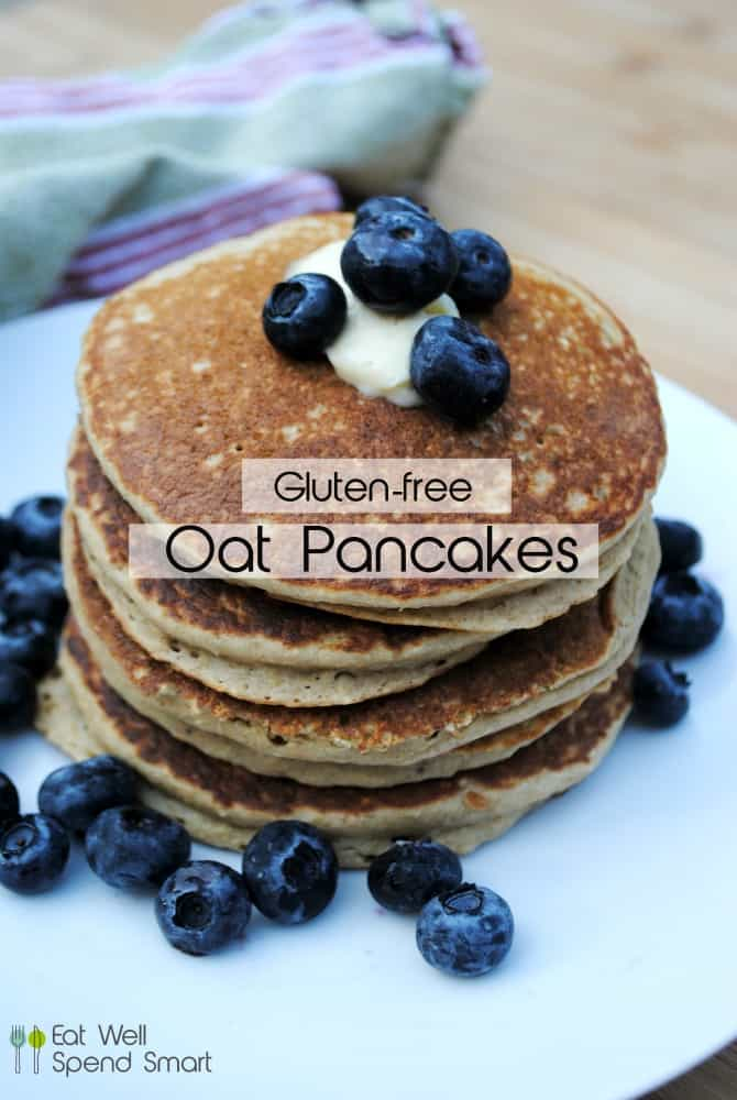 oat pancake topped with blueberries