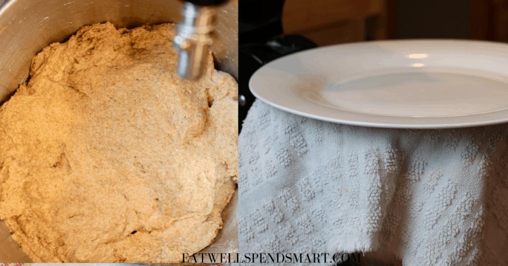 Whole wheat bread dough soaking overnight