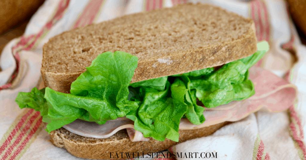 Ham sandwich on homemade whole wheat bread