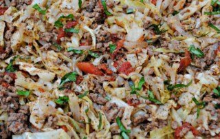 Italian ground beef and cabbage skillet. A frugal, healthy skillet meal.