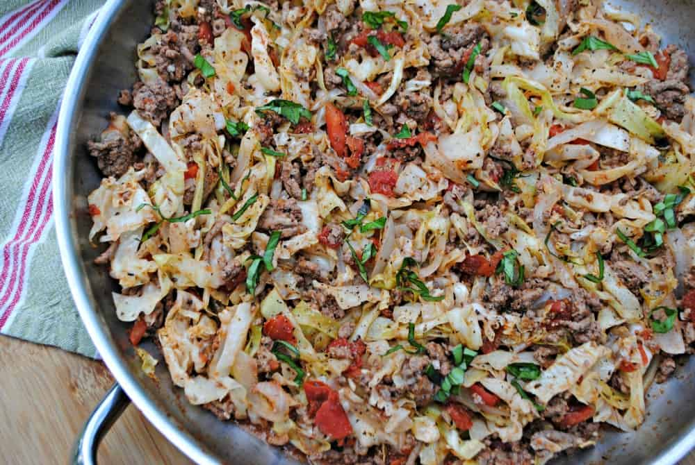 Italian ground beef and cabbage skillet. It's a simple and easy healthy one dish dinner.