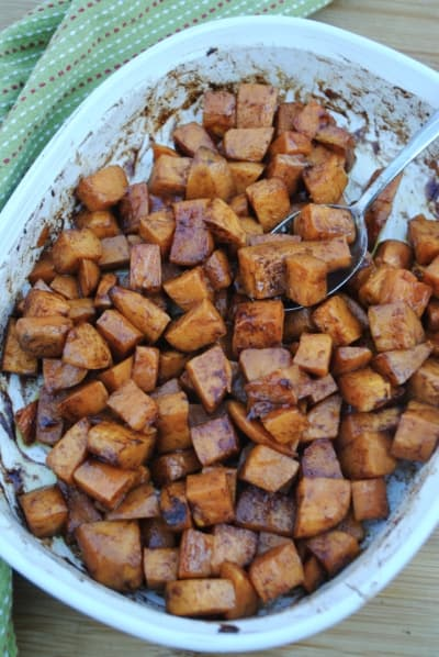 Maple roasted sweet potatoes. A sweet and delicious fall side dish.