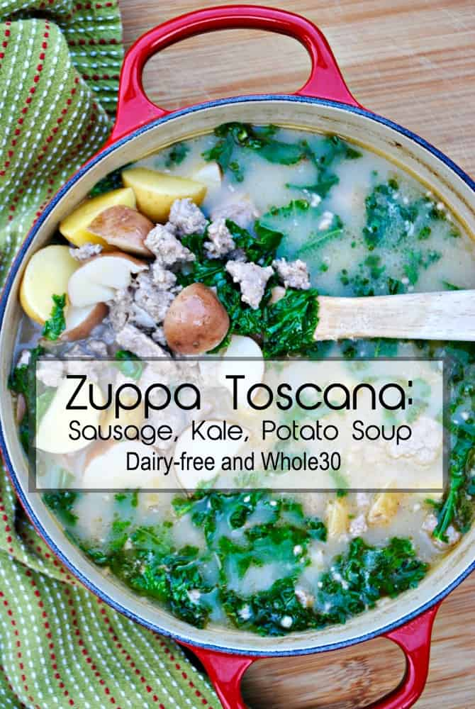 Creamy Zuppa Toscana soup. A winter soup with sausage, kale, potatoes, and a creamy broth.