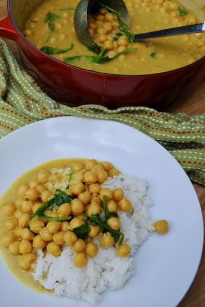 A big pot of chickpea curry made with simple pantry ingredients.