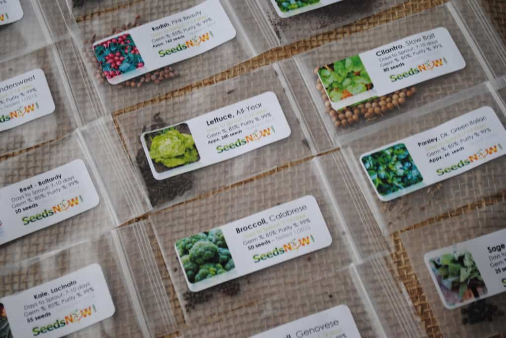 Packets of seeds on burlap