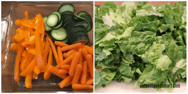 Collage with sliced cucumbers, peppers, carrots, and lettuce