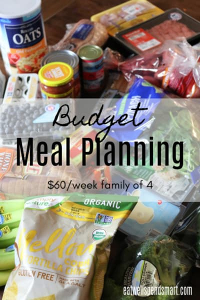 Budget meal planning. $60/week for a family of four.