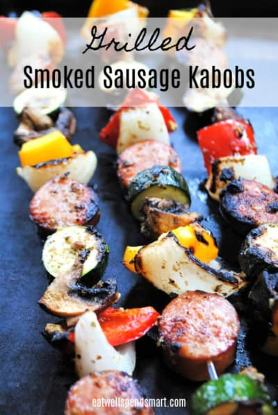 Sausage and vegetable kabobs on the grill