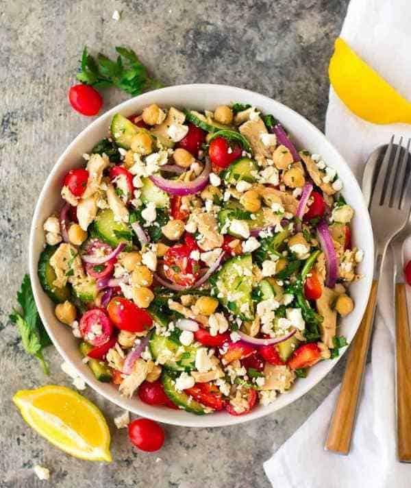 Chickpea tuna salad using canned tuna