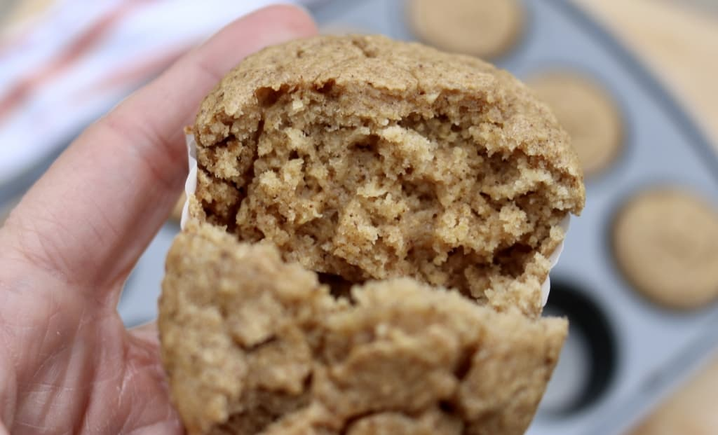 Oatmeal muffin broken in half