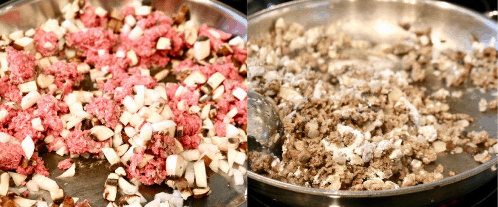 Browning ground beef for cowboy casserole