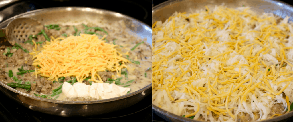Topping cowboy casserole with potatoes and cheese