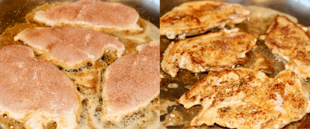 Browning chicken in a skillet